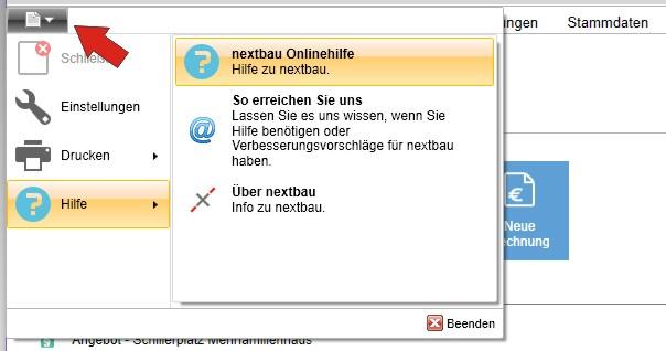nextbau - Hilfe-Funktion
